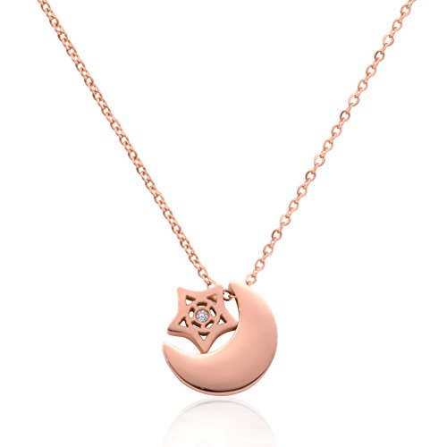18k Star Necklace (WDSHOW Star Moon Necklace 18k Rose Gold Plated Stainless Steel)