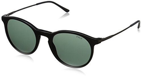 Polo Ralph Lauren Men's 0PH4096 Round Sunglasses, Vintage,Black,Green & Aged Silver, 50 mm (Polo Lauren Sunglasses Ralph)