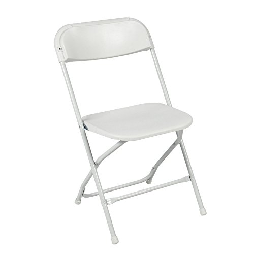 (5) Commercial White Plastic Folding Chairs Stackable Wedding Party Event Chair (Garden Obelisk Furniture)