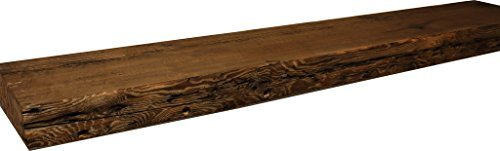ParkCo Rustic Fireplace Mantel Floating Wood Shelf - Reclaimed Barn Wooden Beam Wall Decor, Mounted Farmhouse Shelving, Solid Decorative Ledge Organizer - with Hardware - (42