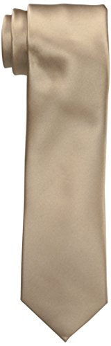 Perry Ellis Men's Sateen Solid Tie, Taupe, One Size
