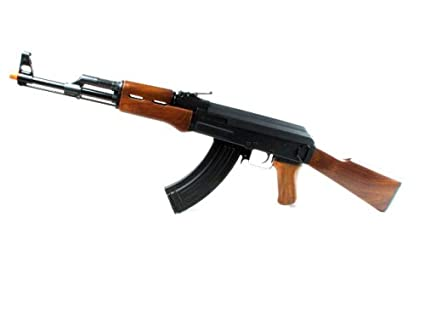 Double Eagle Metal AK 47 Realistic Feeling Airsoft Gun Collectible Quality  Full Auto Electric Rifle AEG Air Gun, Wood Color