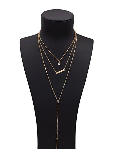 Sundear Golden Layered Crystal Necklace