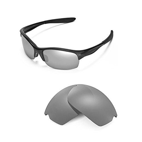 Walleva Replacement Lenses Oakley Commit SQ Sunglasses - Multiple options available (Titanium Mirror Coated - - Clear Oakley Lens Titanium