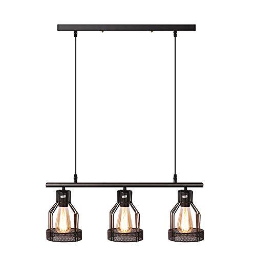 (Black 3-Light Kitchen Island Light Fixtures Hanging Cage Pendant Lighting Rustic Industrial Chandelier for Bar Dinning Room)