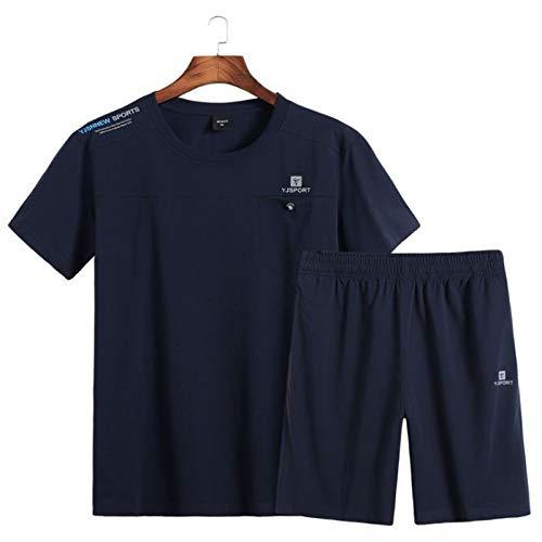 Zxl-yf Sommer Kurzarm-Shorts Dicker Mann verlieren Fett und Fett sowie XL Laufbekleidung Gym Sportswear Anzug Männer (Farbe : Dark Blue, größe : 7XL)