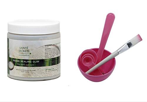 Indian Healing Clay amp 4 in 1 Cosmetic DIY Facial Mask Bowl Brush Stick Measure Spoon 1 Lb Pink