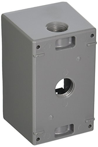 Taymac SD350S Weatherproof Box, 1-Gang, (3) 1/2-Inch Outlets, Deep, Gray