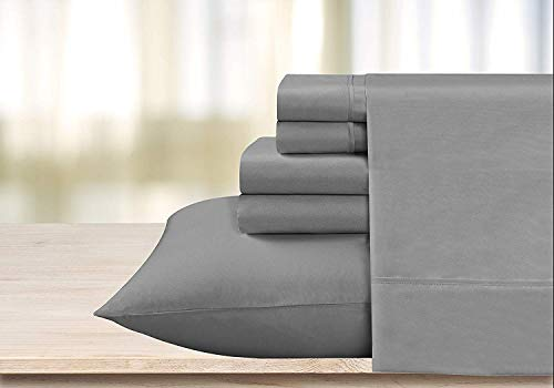 800-Thread-Count 100% Cotton Sheet Grey Short Queen-Sheets Set, 4-Piece Long-Staple Combed Cotton Best-Bedding Sheets for Bed, Breathable, Soft Cotton Bed Sheets Fits Mattress Upto 15
