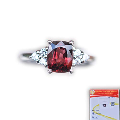 - Lovemom GLC Certified 1.84G Natural Cushion Red Spinel 925 Silver Ring 7US #eb8