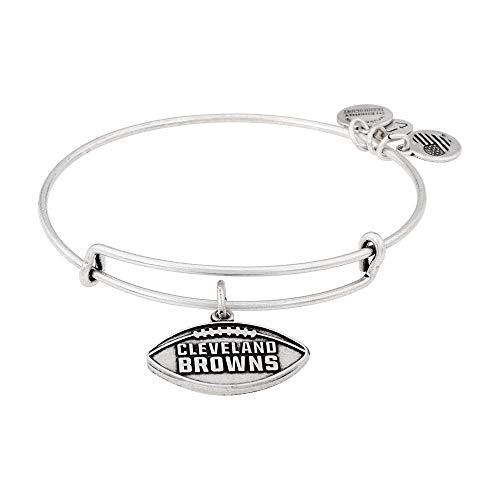 (Alex and Ani Women's NFL Cleveland Browns Football Bangle Rafaelian Silver One Size)