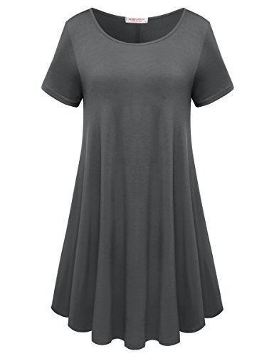 BELAROI Womens Comfy Swing Tunic Short Sleeve Solid T-Shirt Dress (L, Deep Gray)