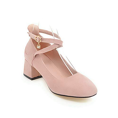 BalaMasa Womens Solid Travel Nubuck Leather Pumps Shoes APL10591 Pink