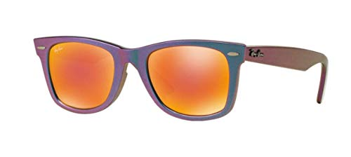 Ray-Ban Metallic Wayfarer Sunglasses in Oil Brown/Orange Mirror]()