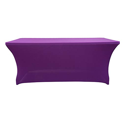 - Rectangular Assembly Stretch Tablecloth Long bar Tablecloth Hotel Event Party Wedding Decoration Purple 122x60x76cm