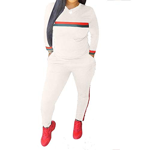 (Top-Vigor Women 2 Pieces Sports Tracksuits Outfits Long Sleeve Top and Long Bodycon Pants Sweatsuits Set White)