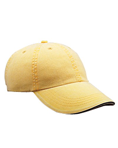 A Product of Anvil Adult Solid Low-Profile Sandwich Trim Twill Cap -Bulk Discou