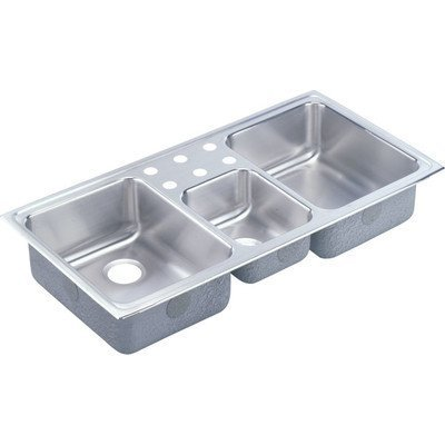 Elkay LCR43224 4-Hole Gourmet Lustertone Stainless Steel 43-Inch x 22-Inch Triple Basin Top-Mount Kitchen Sink by Elkay by Elkay