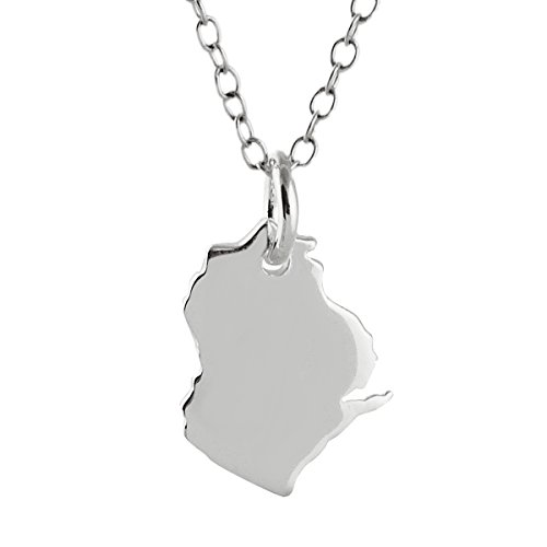 Sterling Silver Wisconsin State Charm Necklace, 18 Inch