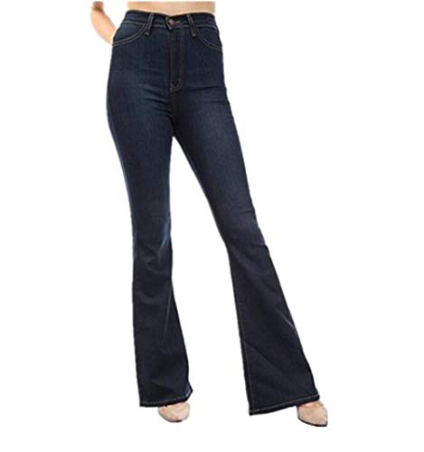 Oscuro para Cintura de Mujer Zhrui Anchos Alta Jeans Azul 7tqx4Xw8
