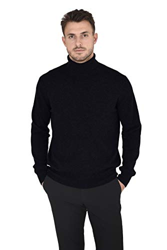 (Cashmeren Men's Wool Cashmere Classic Knit Soft Long Sleeve Turtleneck Pullover Sweater (Black, Large))