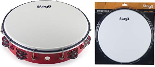 Stagg TAB-212P/RD Tunable Tambourine with 2 Rows of Jingles