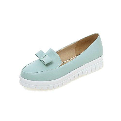 AgooLar Damen Rein Weiches Material Niedriger Absatz Ziehen auf Rund Zehe Pumps Schuhe Blau