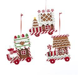 Clay Dough Gingerbread Flat Train Ornaments (set OF 3 - Ginger White Ornaments