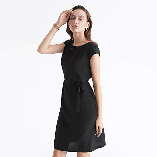 Longueur 16 Manche Coupe Noire Classique Mm Noir Robe Sans Soie Droite En Petite Eté Lilysilk D'emploie 007 Genou Mode Pure A1pwaq