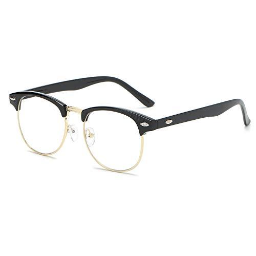 montura de Marco SJ5018 Gafas sin Negro C3 lente SOJOS sol polarizadas Dorado transparente Clubmaster Semi SRAwqnXUx