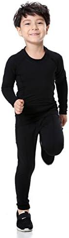 (ランバオシー) Lanbaosi ジュニア サッカー インナー コンプレッションウェア 上下セット 2枚 ボーイズ パワーストレッチ 長袖シャツ スポーツタイツ アンダーウェア キッズ