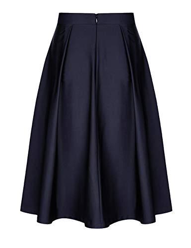 Dames avec Mode Taille Jupes Genou Pliss t Evases Elastique du Ceinture Jupe Midi Zhuhaijq Longueur Haute Femmes blue SX0xw06
