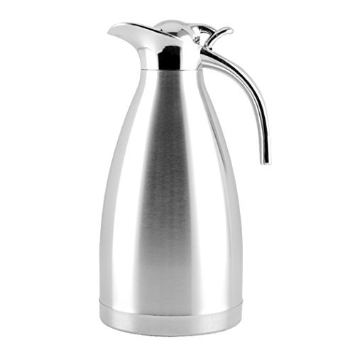 EgoEra Stainless Steel Double Walled Vacuum Insulated Jugs, Tea Water Coffee Thermal Carafe / Insulation Pot / Coffee Pot / Cafetiere Jug / Water Pitcher with Handle and Spout (1L)