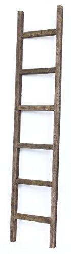 BarnwoodUSA Rustic 6 Foot Decorative Ladder - 100% Reclaimed Wood Ladder, Brown ()