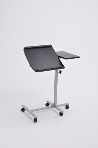 Black Finish Mobile Laptop Computer Stand with Adjustable Swivel Top with Casters Wheels