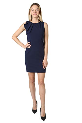 (bebe Women's Sleeveless Asymmetrical Ruffle Detail in Right Shoulder Sheath Dress Navy 2 )