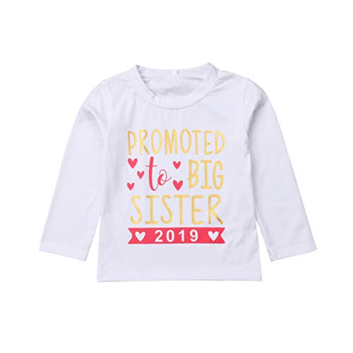 (YT couple Big Sister Letter Print T-Shirt Infant Girl Long Sleeve Pullover Tops Toddler One Piece Round Neck White Outfits 2-7T (White, 2-3T))