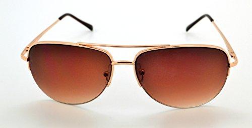 incluye alta Mens Aviator amp; funda w de Classic sol Brown calidad Frame Womens Gold microfibra Vox Lens Gafas de ligero Trendy x84IfO