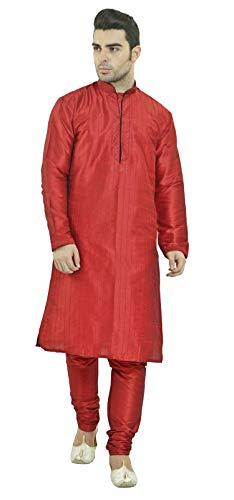 SKAVIJ Men's Art Silk Kurta Pajama Set Indian Party Wear Clothing (Medium, Red) (Party Wear Dresses For Mens In Summer India)