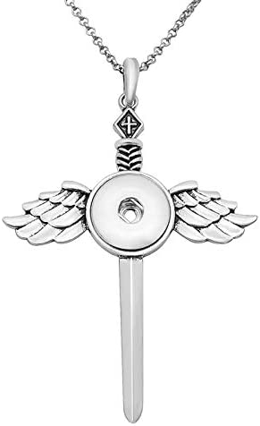 Elegant Beauty Cross Wings Pendant Snap Necklace 60Cm Chain Fit 18Mm Snap Buttons Snap Jewelry | Amazon.com