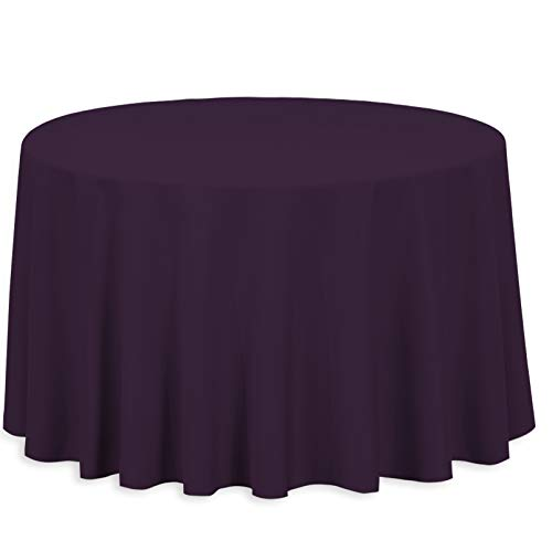 LinenTablecloth 108-Inch Round Polyester Tablecloth Eggplant