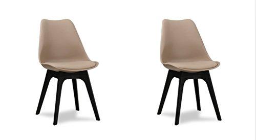 Conjunto de 2 sillas escandinavas de comedor, diseño retro tipo ...