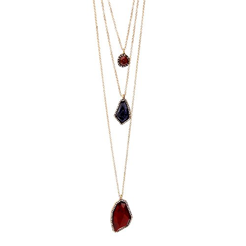 Drop Red Gemstone (Vintage Long Chain Ajustable Statement Necklace Multilayer Necklace Water Drop Pendant Necklace Red Blue Stone)