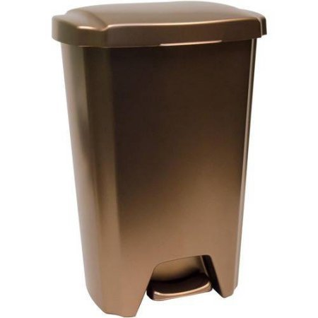 12.5-Gal. Step-On Wastebasket, Bronze