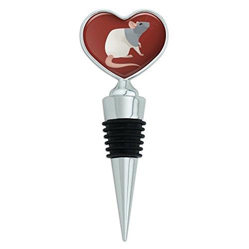 Hooded Rat Heart Love Wine Bottle Stopper -