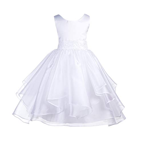 ekidsbridal Asymmetric Ruffled Organza Sequin Flower Girl Dress Princess Dresses 012S 8 White -