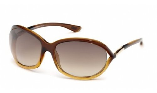 Tom Ford Jennifer FT0008 Sunglasses-50F Brown Fade (Brown Gradient Lens)-61mm by Tom Ford