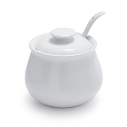 Sur La Table Porcelain Sugar Bowl with Lid and Serving Spoon HE2737-S