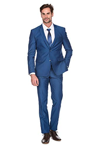 Milano Vichee Men's Suit Slim Fit Wrinkle Free Two Button 2 Pieces Set (Jacket+Pant) Tuxedo Business Wedding Party Casual Color:Royal Blue