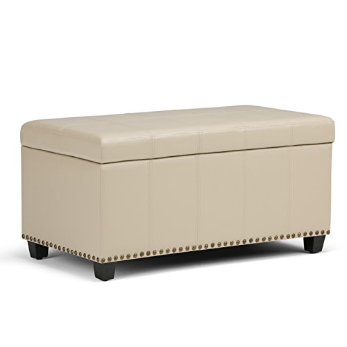 Simpli Home AXCOT-257-CR Amelia 34 inch Wide Traditional Storage Ottoman in Satin Cream Faux Leather